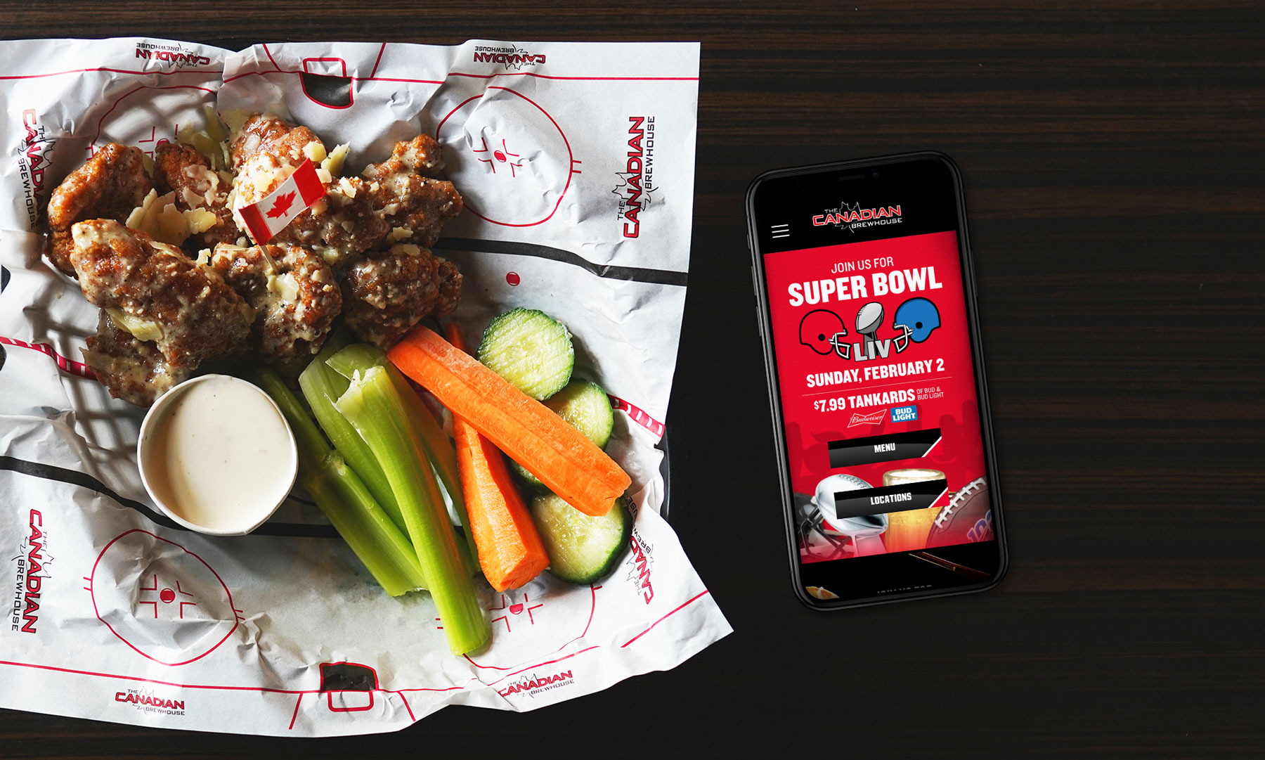 Super Bowl banner on The Canadian Brewhouse Website iPhone Rendering.