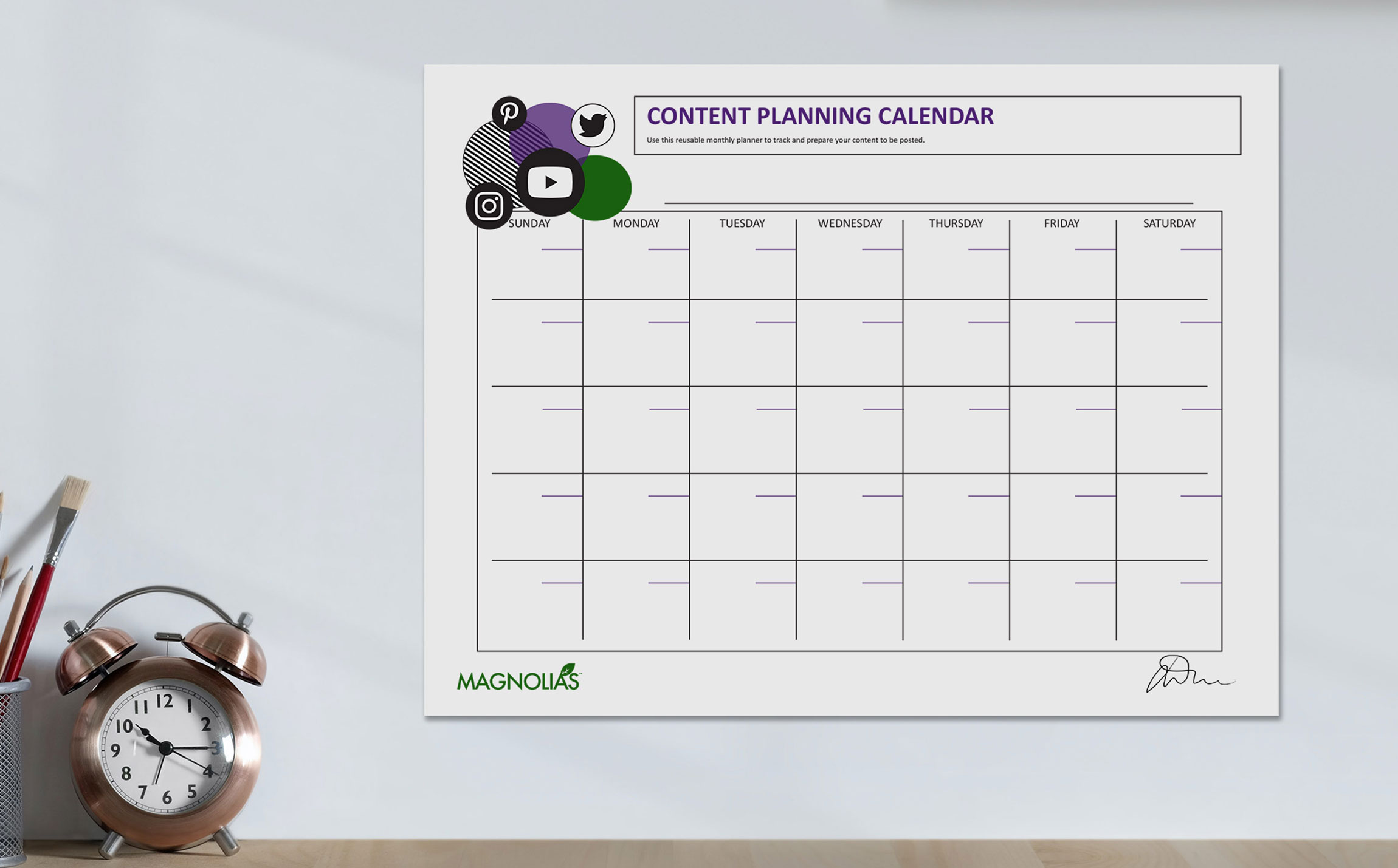 Plan social media content with this free content calendar. Important dates and social media content ideas included in the free PDF download.