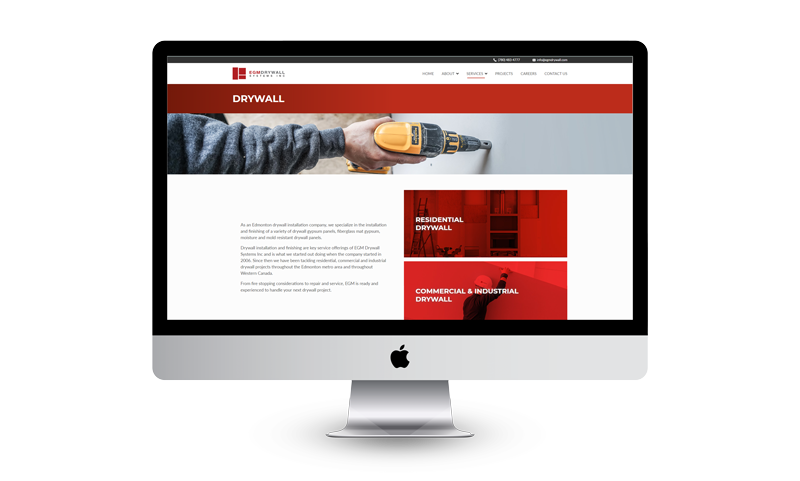 EGM Drywall Website on a Computer Screen