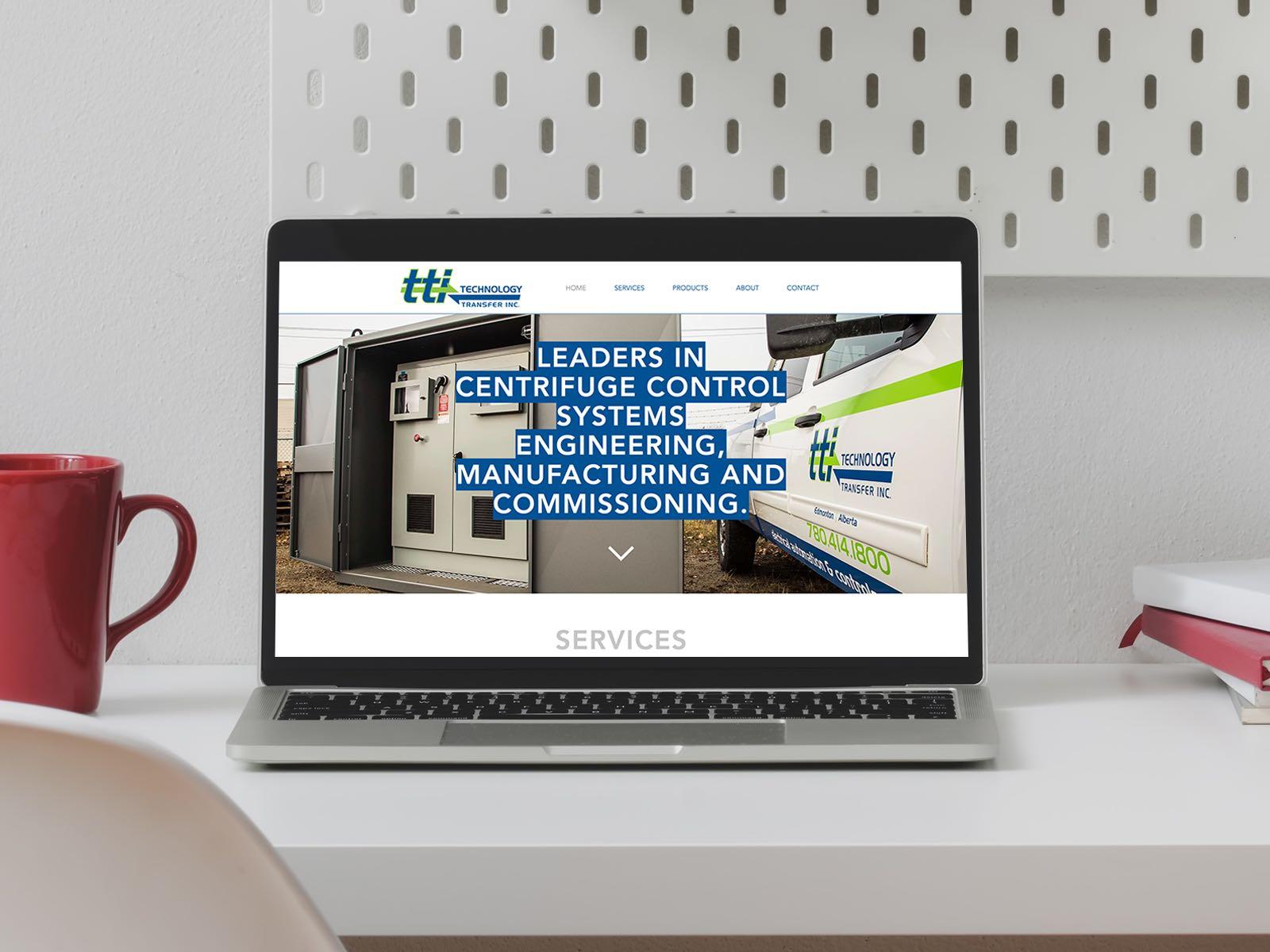 Technology Transfer inc Website on a Laptop