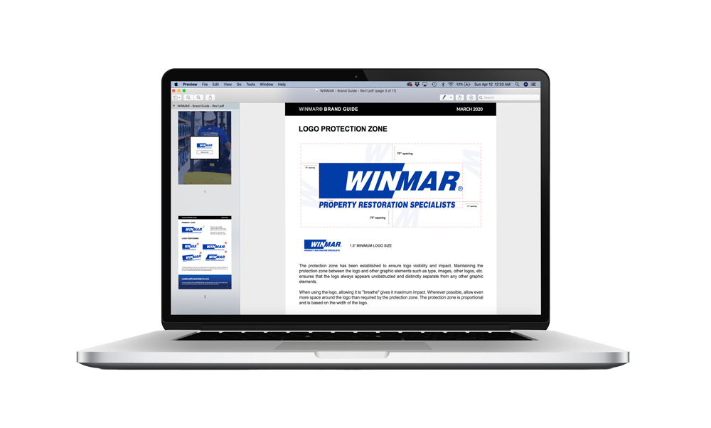 WINMAR Brand Guide on a Computer Screen