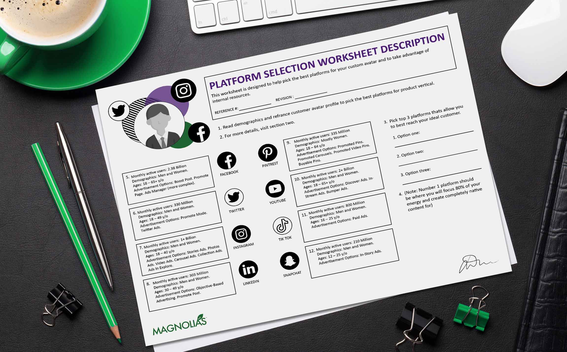 Be present on social media platforms that relate to your customer avatars with this free social media platform selection worksheet.