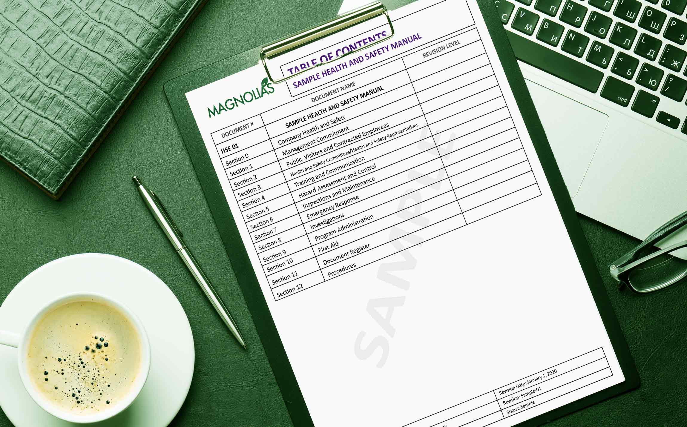 This health and safety manual table of contents, free download.